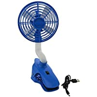 Global-store Flexible USB Clip On Fan with Rotating Neck, Portable USB Rechargeable Personal Desktop Cooling Fan