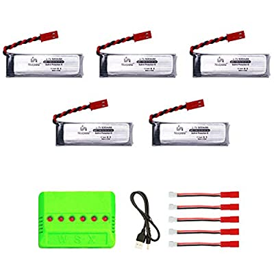 5pcs 3.7V 500mAh Rechargeable Li-Po Batteries with 6in1 Charger Compatible with UDI U818A, U818A-1 U817 U817A RC Drone NOT Compatible with U818A WiFi FPV Discover Model