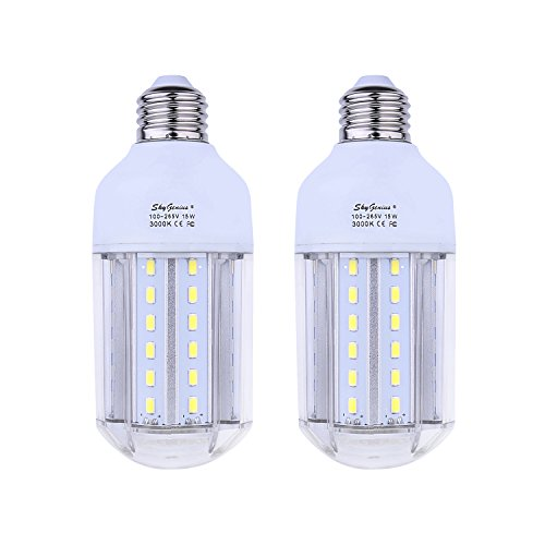 15W Warm White LED Corn Light Bulb 100W Incandescent Replacement - E26 Socket 1500Lm Bright 3200K,for Home Lighting Garage Kitchen Bathroom Porch Bedroom Basement Work Shop Outdoor Lamp(2 Pack)
