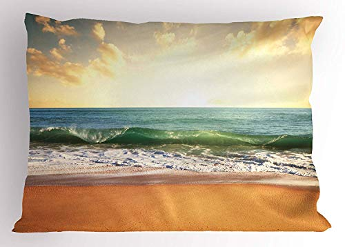 Tigeaslg Ocean Pillow Sham, Sunset at a Smooth Sandy Beach with Small Wave and Bubbles from The Sea, Decorative Standard Queen Size Printed Pillowcase, 30 X 20 inches, Amber Cream and Blue