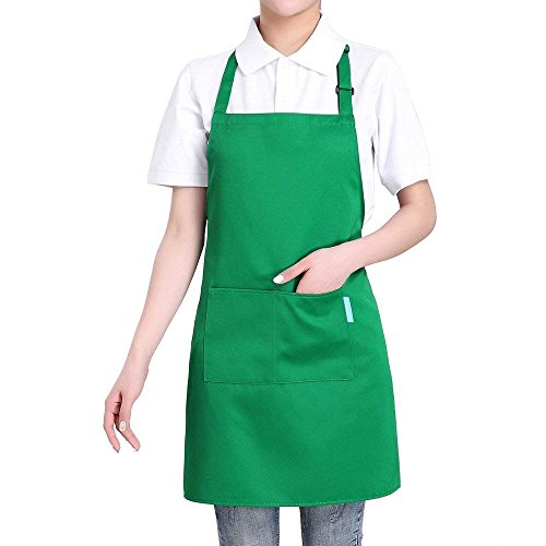 Cooking Apron Esonmus Adults Polyester Kitchen Apron With Adjustable Neck Belt and 2 Pockets For Baking Gardening Restaurant BBQ For Men and Women