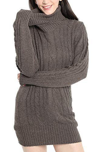 Liny Xin Women's Cashmere Knitted Turtleneck Long Sleeve Winter Wool Pullover Long Sweater Dresses Tops (M, Brown) ()