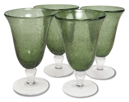 Artland Iris Footed Ice Tea Glasses, Sage, Set of 4 (Vintage Water Glasses compare prices)