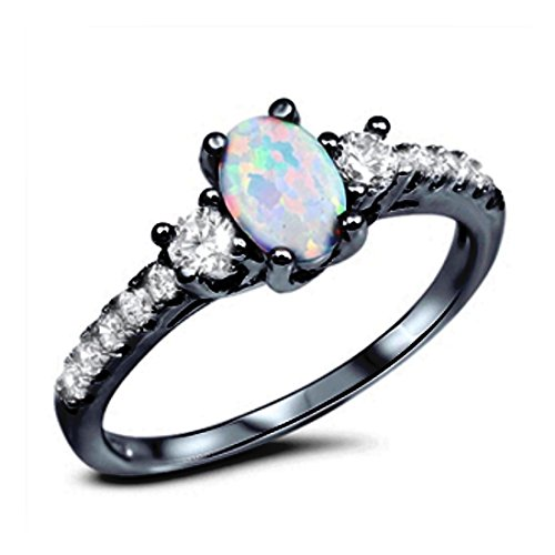 (Accent 3 Stone Ring Oval Cut Lab Created White Opal Round CZ Black Tone Plated 925 Sterling Silver)