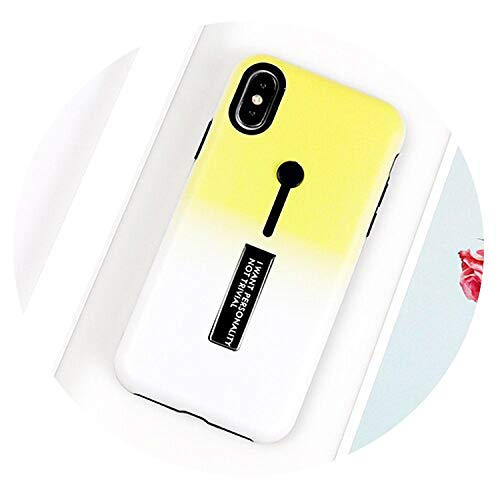 Case for iPhone Xs X 6 6S 7 8 Plus Gradient Color Multifunctional Ring Holder Soft Phone Back Cover Case,Yellow,for iPhone 6 6S -