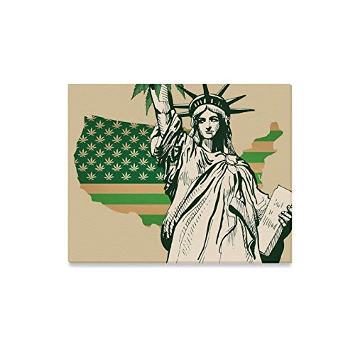 Wall Art Painting USA Map Green Flag Cannabis Leaf Prints On Canvas The Picture Landscape Pictures Oil for Home Modern Decoration Print Decor for Living Room ()
