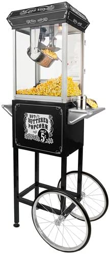 Funtime Sideshow Popper 8-Ounce Hot Oil Popcorn Machine with Cart, Black Silver