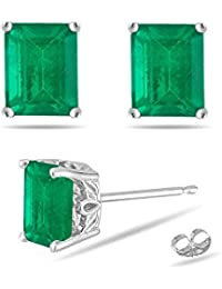 1.83-2.25 Cts of 7x5 mm AA Emerald-Cut Natural Emerald Scroll Stud Earrings in Platinum