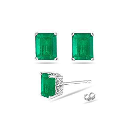 043-056-Cts-of-5×3-mm-AA-Emerald-Cut-Natural-Emerald-Scroll-Stud-Earrings-in-14K-White-Gold