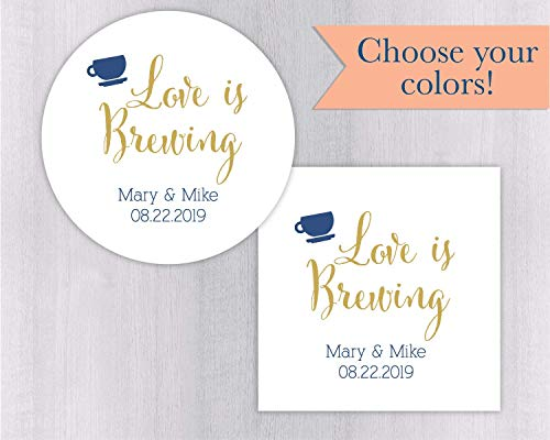 Love is Brewing Wedding Favor Stickers Coffee Cup or Other Drink Favors (#095-WH) Bridal Blend Coffee Wedding Favors