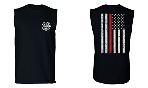 (American Flag Thin Red Line Firefighter Support Seal Men's Muscle Tank Top Sleeveless t Shirt (Black 2X Large) )