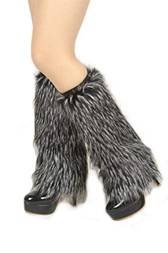 Ibeauti Womens Furry Leg Warmers Super Soft Rainbow Boots Shoes Cuffs Covers (Medium: Length: 15.4