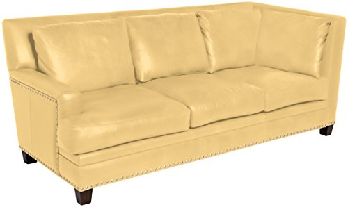 Omnia Leather Glendora Left Arm 3 Cushion Sofa with Right Return in Leather, with Nail Head, Navajo Butter