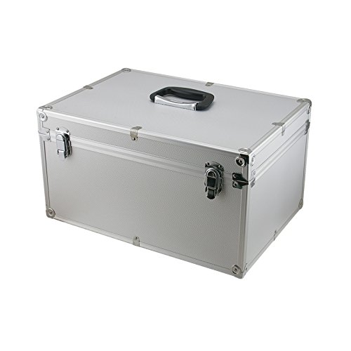 SRA Cases EN-AC-FG-C408 Aluminum Hard Case Silver DJ Tool Box with Internal Divider, 17.7 x 12.2 x 9.7 Inches
