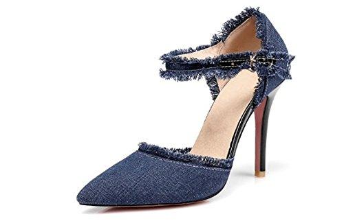 Women's Fashion Distressed Denim Open Toe Pointed High Heels Calfskin Sexy High Heels(Dark Blue,35/4 B(M) US Women)
