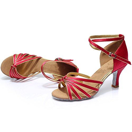 Azbro Mujer Zapato de Baile Latín de Tacón Alto con Correa Cruzada Puntera Abierta Negro