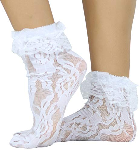 ToBeInStyle Women's Elegant Lace Anklet with Ruffle Cuff - White - OS (Thigh High Rhinestone Anklet)