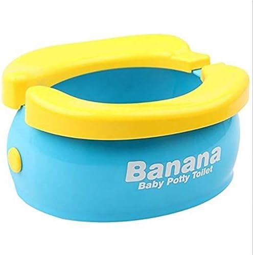 尿バッグ付ポータブルベビートイレ折りたたみ式トイレ子供トイレトイレトレーニング子供の幼児の旅行カートイレ指輪 (Color : Blue)