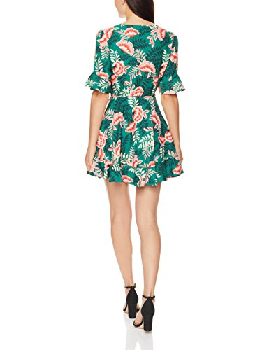 with Dress Detail Ruffle Women's Songbird Short findersKEEPERS Floral Sleeve Wrap Mini Forest Y70AxwqT