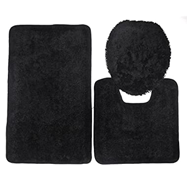 Royal Plush Collection 3-Piece Bathroom Rug Set, Bath Mat, Contour and Toilet Cover (Standard Round Size Toilet) - Black