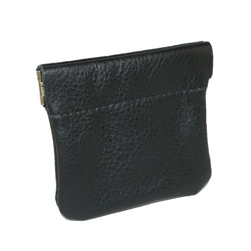 CTM Leather Squeeze Coin Pouch (One Size, Black) - Leather Squeeze Coin Purse