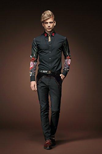 FANZHUAN Herren Hemden Modische Schwarzes Aufdruck Mode Slim Casual