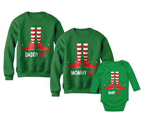 Dad, Mom & Baby Elf Santa's Helpers Christmas Matching Set Family Xmas Outfits Dad Green XX-Large/Mom Green Medium/Baby Green NB (0-3M)]()