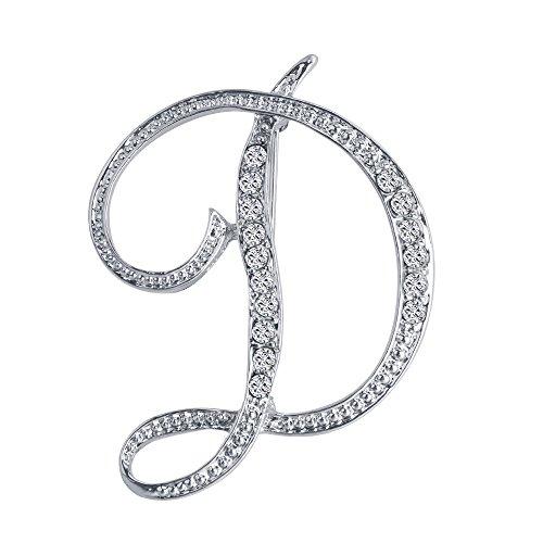 Brooch (Vivilly Silver Plated Crystal Script Initial Alphabet 26 Letter Brooch pin(D))