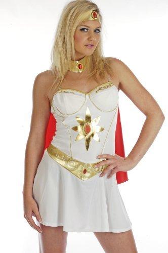 80's Super Hero Girl - Adult Fancy Dress Costume - M by Fun Shack (Fancy Dress Superheroes)