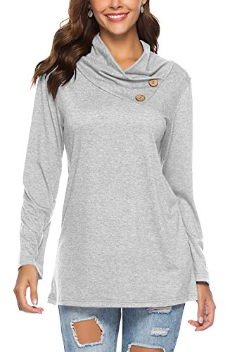 PinUp Angel Gray Cowl Neck Tops for Women Asymmetrical Full Long Sleeve Button Blouse Shirt