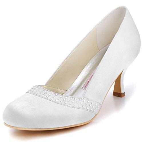 Elegantpark A0718 Femmes Près Toe Mi-talon Strass Satin Mariage Pompes Nuptiales Chaussures Blanc