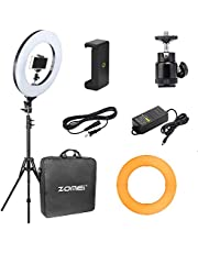 """18"""" Ring Light with Stand,ZoMei Dimmable LED Ring Light with Tabletop Stand for Making up, YouTube Videos with ballhead, Phone Holder & Diffuser Cloth"""