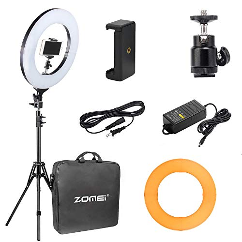 "(10 in 1 Zomei 14-inch Dimmable LED Ring Light with 63"" Stand for Makeup Photography Videography YouTube Facebook)"