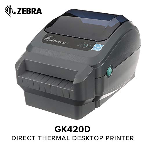 - Zebra - GX420d Direct Thermal Desktop Printer for Labels, Receipts, Barcodes, Tags, and Wrist Bands - Print Width of 4 in - USB, Serial, and Ethernet Port Connectivity (Includes Cutter)