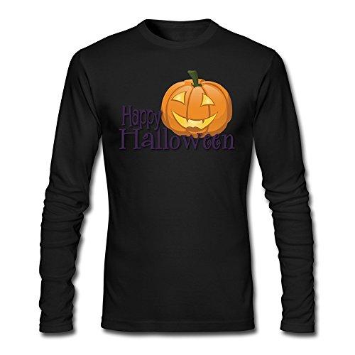 [Men's Lantern Pumpkin Halloween Costume T-shirts Long Sleeve Black] (Pretty Little Liars Halloween Costume)