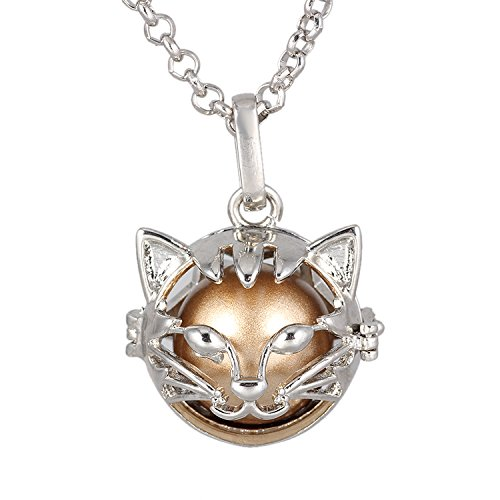 Cat Locket (Bonnie Silver Cat Pendant Music Chime Angle Caller Ball Necklace Pregnancy Baby Shower Gift (Gold))