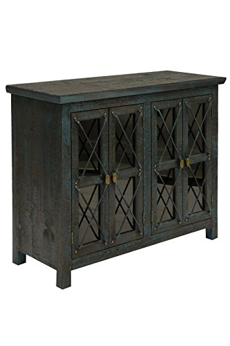 Mystic Trim - Collective Design 720354122943 Transitional Four Door Leaded Glass Inserts-Mystic Blue and Gold Trim Chest,