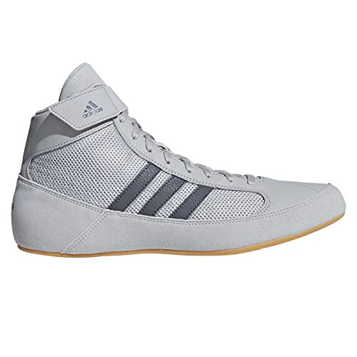 adidas Men's Boy's HVC2 Wrestling Mat Shoe Ankle Strap (Light Gray/Onyx, 12)