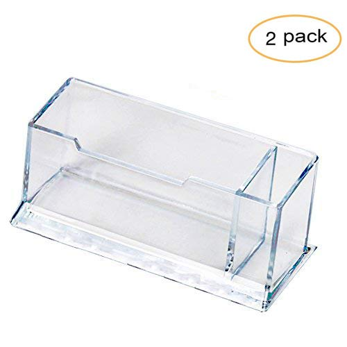 Hamosky Business Card Case Holder Pencil Holder Acrylic Clear Business Card Holder Display, Plastic Business Card Stand Organizer for Office (1 Tier)