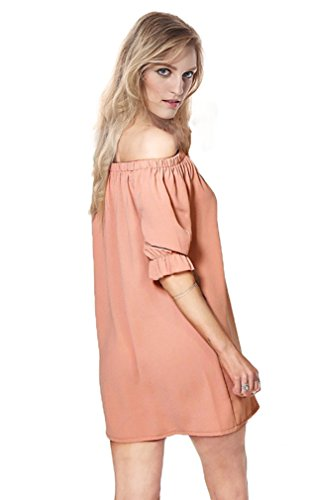 Kimring Women's Summer Casual Loose Chiffon Off Shoulder Short Mini Dress Rosa