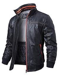 FLAVOR Men's Leather Jacket Standing Collar Vintage Pigskin