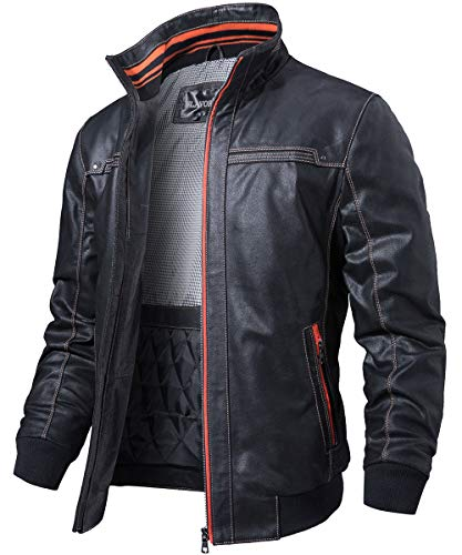 Standing Pig - FLAVOR Men's Leather Jacket Standing Collar Vintage Pigskin (Black, Medium)