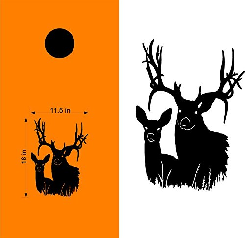 Doe Buck Deer Hunting Cornhole Decals Stickers - Extra Large (2 Decals) - Wall Decals - Vinyl Stickers - Custom Text by StickerChef