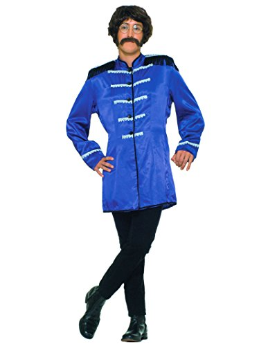 British Red Coat Costume Clothing (British Invasion 60s Band Costume Long Mens Jacket Theatrical Blue OR Red Color: Blue)
