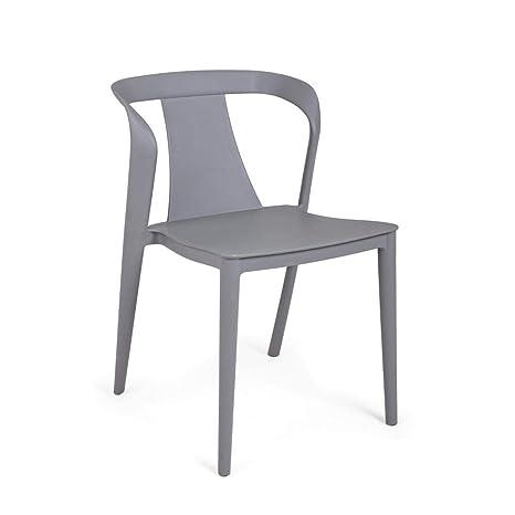 ARREDinITALY - Juego de 4 sillas apilables de plástico Gris Claro ...