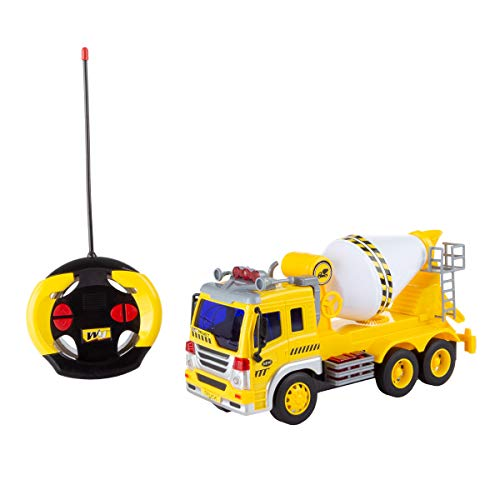 (Hey! Play! Remote Control Cement Mixer Truck- 1: 16 Scale, Fully Functional Rotating Concrete Construction RC Vehicle with Lights & Sound for Kids )