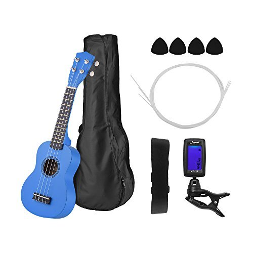 21 inch Ukelele Muslady Colored Acoustic Soprano Ukulele Kit Basswood with Carry Bag Uke Strap Strings Picks Tuner