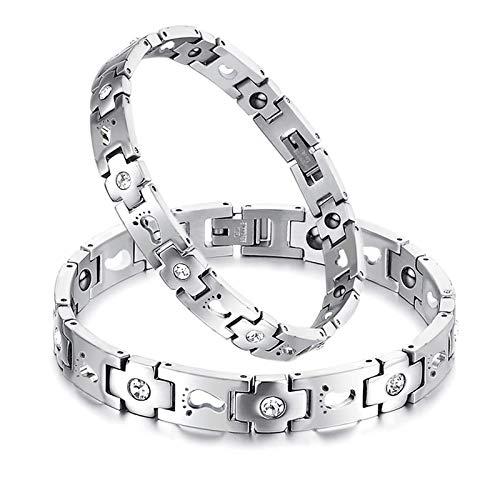 MoAndy Charm Bracelet Stainless Steel Chain Link Bracelet for Womens Footprint Zirconia Wristband White