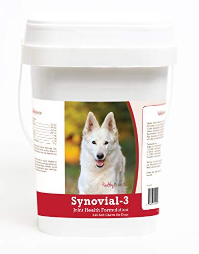 Healthy Breeds Synovial 3 Dog Hip & Joint Support Soft Chews for German Shepherd, White - OVER 200 BREEDS - Glucosamine MSM Omega & Vitamins Supplement - Cartilage Care - 240 Ct (Best Supplements For German Shepherds)