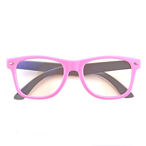 Gudzws Kids Anti Blue Light Glasses Rectangle Plastic Frame Protect Eyesight from Digital Display Computer TV Boys Girls Child Unisex Pink (Suitable for 5-12 Years Old) by Gudzws (Image #5)